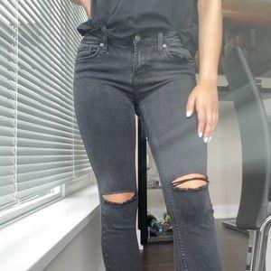 JUST BLACK Faded Black Distressed Skinny Jeans